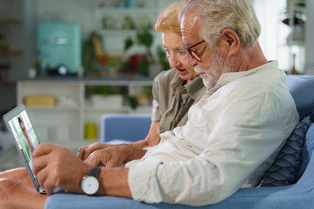 Elderly caucasian couple using Telehealth